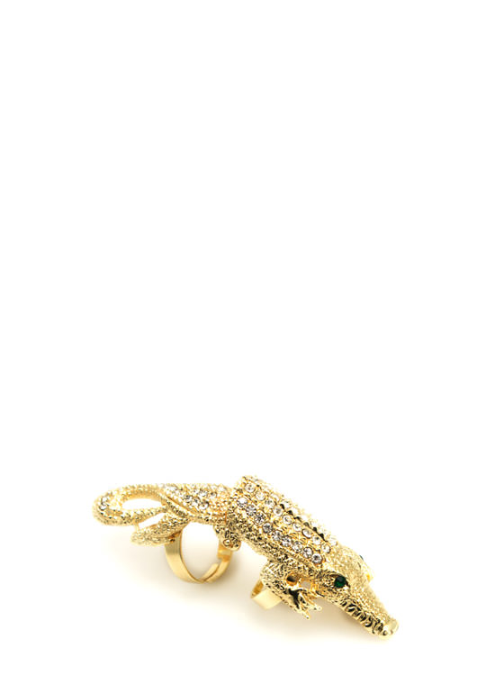 Rhinestone Crocodile Ring GOLD