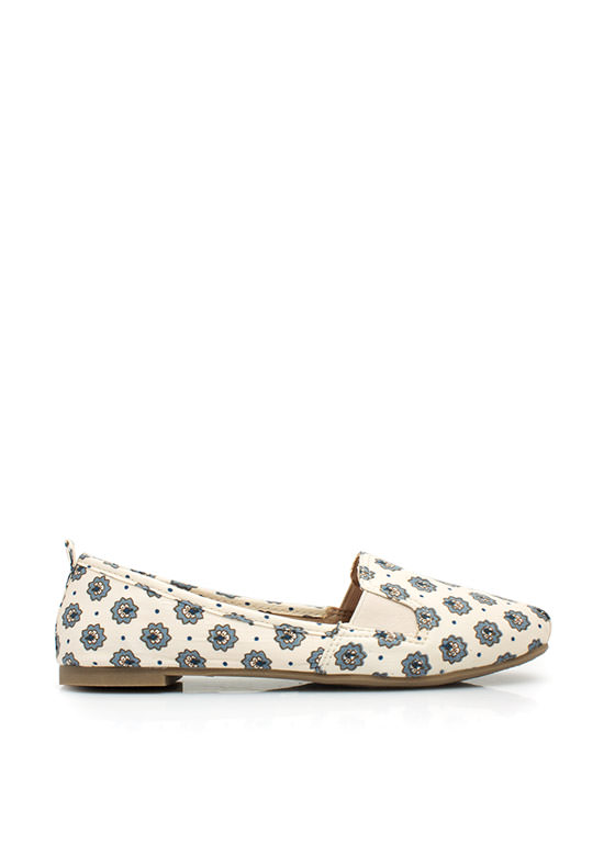 You're Blossoming Floral Smoking Flats BEIGE