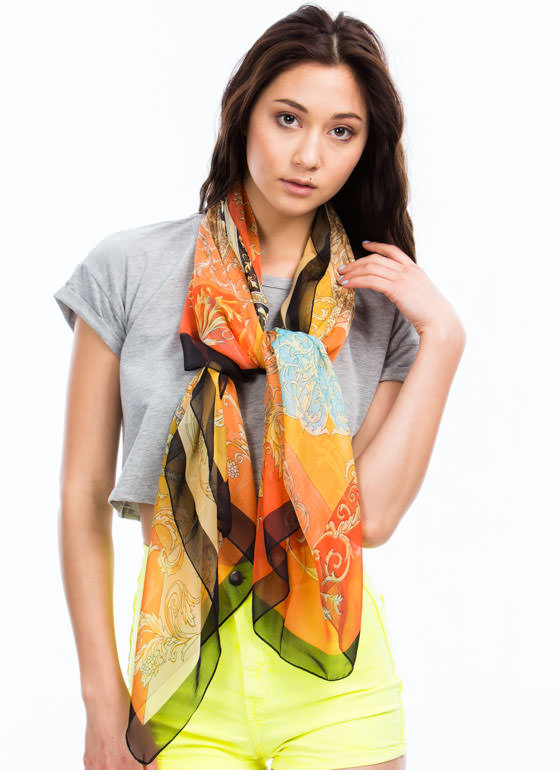 Sheer Filigree Scarf ORANGEMULT