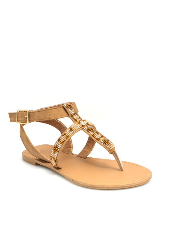 Bead Me To It Cross Strap Sandals CAMEL