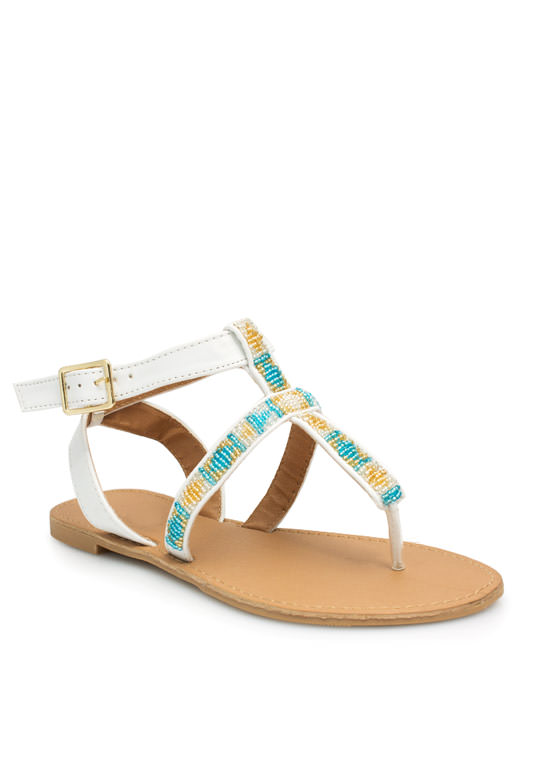 Bead Me To It Cross Strap Sandals WHITE