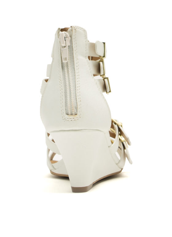 Quick Six Buckled Wedges WHITE