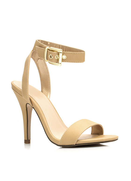 Keep It Simple Buckled Heels TAUPE