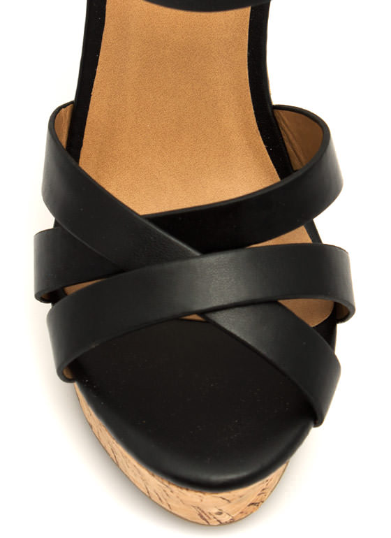 Strap-tastic Faux Cork Wedges BLACK