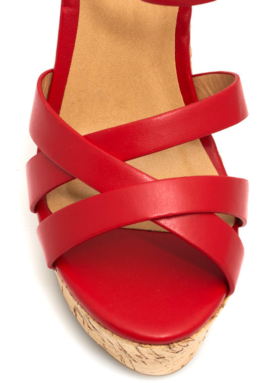 Strap-tastic Faux Cork Wedges RED