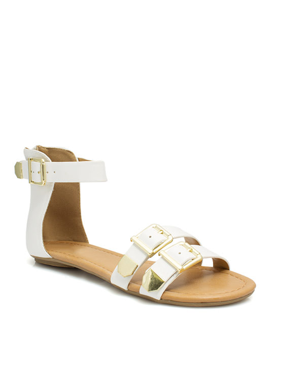 Bare Buckle Brawling Sandals WHITE