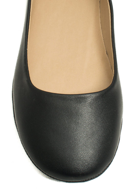Well-Rounded Faux Leather Ballet Flats BLACK