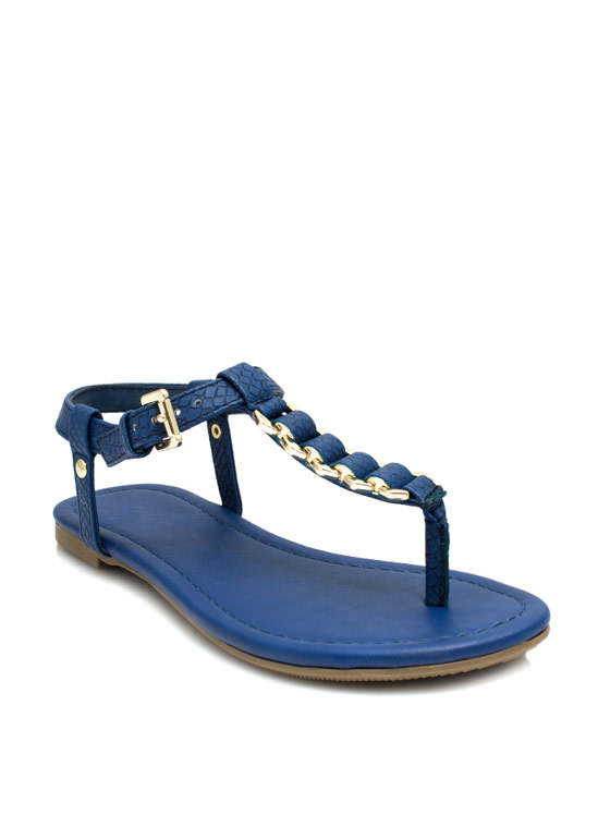 Snake On It Chained T-Strap Sandals COBALT