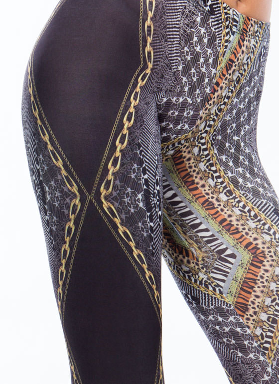 Chained Animal Mixed Print Leggings BLACK