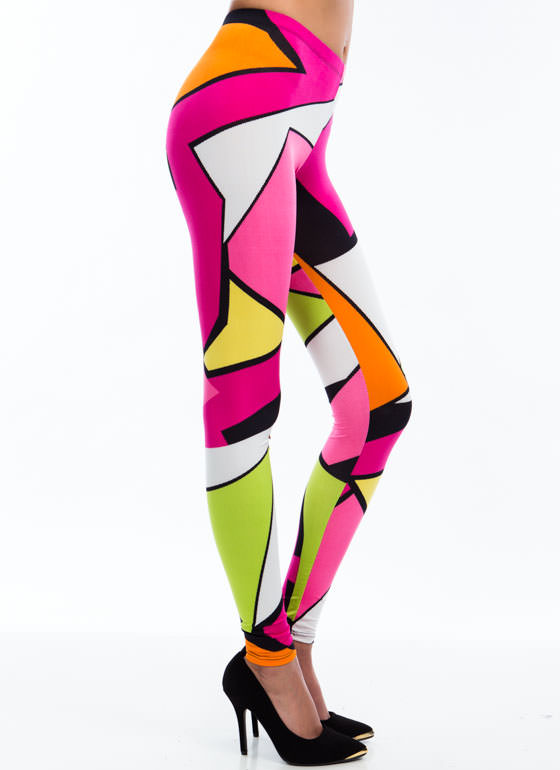Tear It Up Abstract Print Leggings PINK