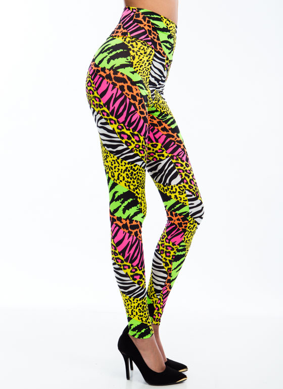 Hybrid Animal Neon Print Leggings PINKYELLOW