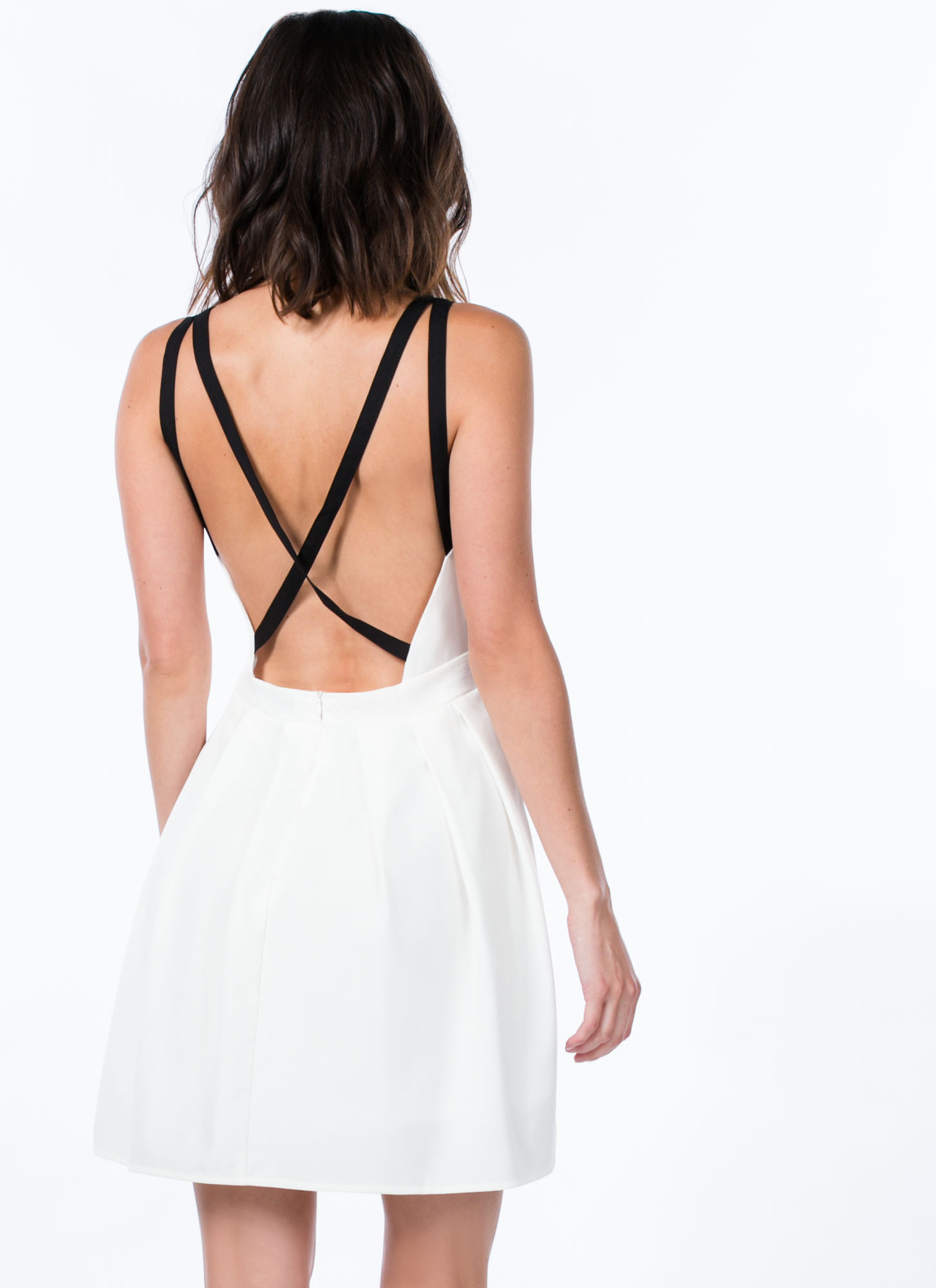 Pleat The Fifth Strappy Skater Dress WHITE (Final Sale)