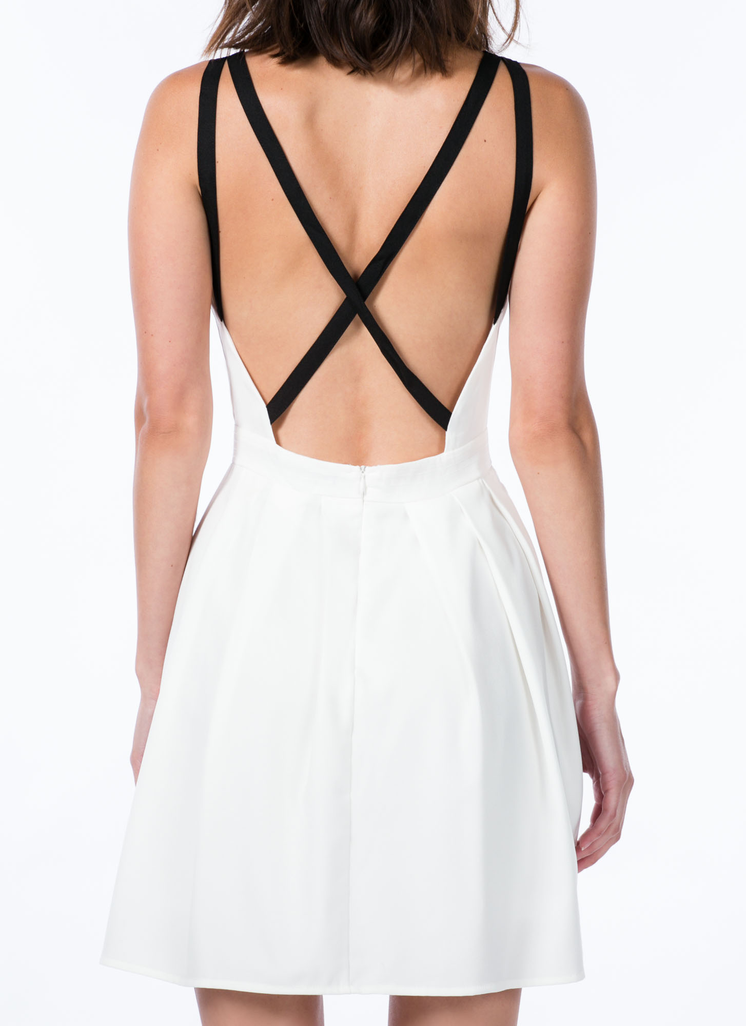 Pleat The Fifth Strappy Skater Dress WHITE