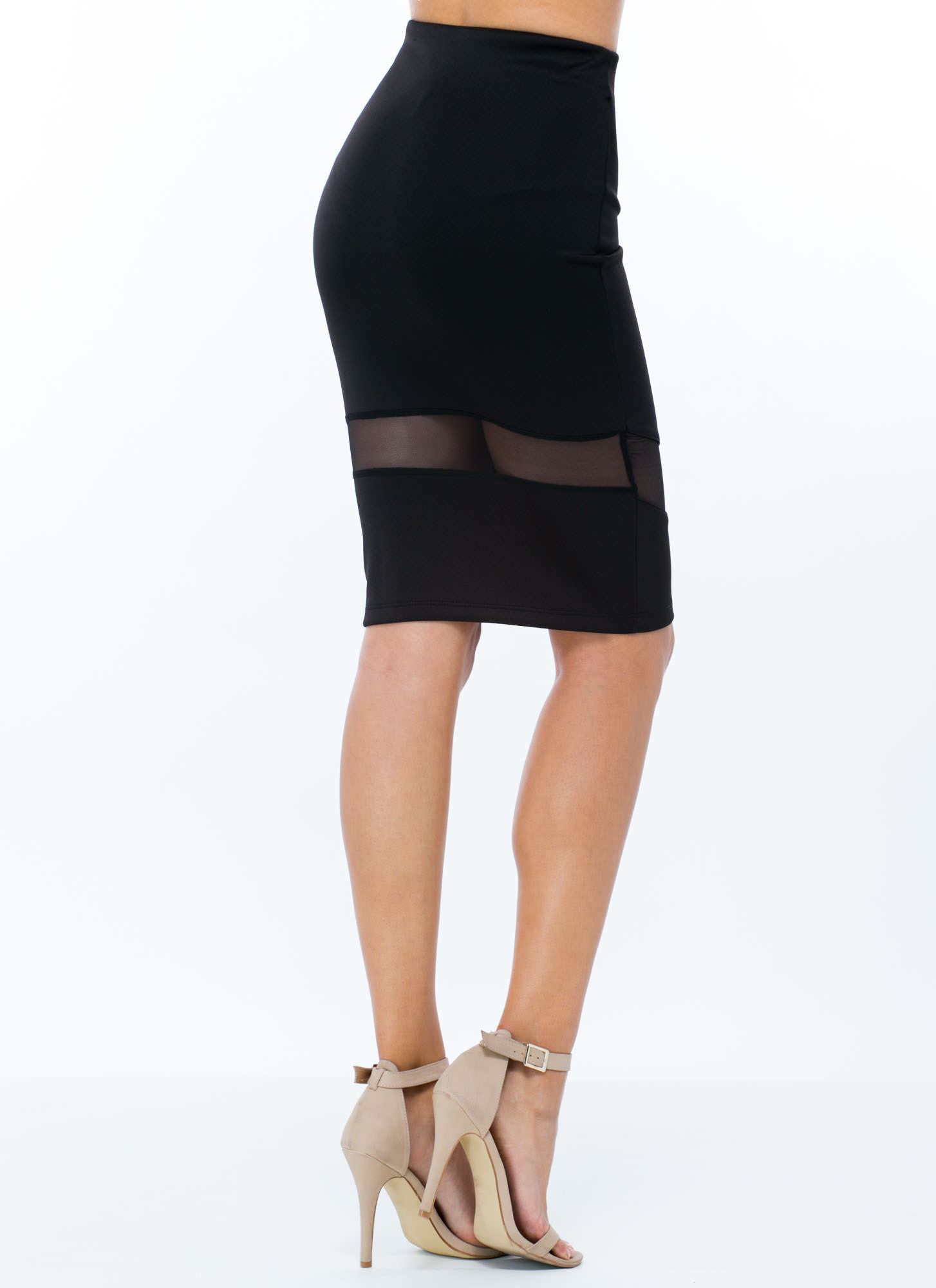 Sheer Up Mesh Inset Midi Skirt BLACK