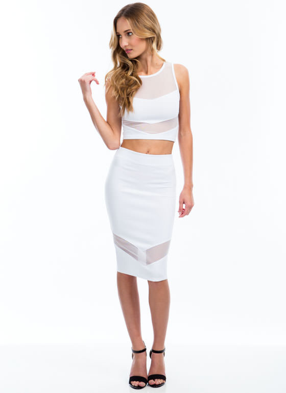 Sheer Up Mesh Inset Midi Skirt WHITE