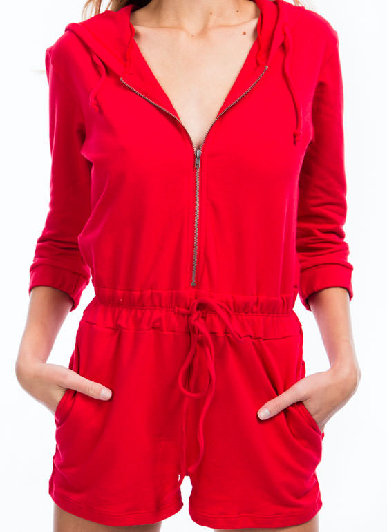 MVP Hooded French Terry Romper RED
