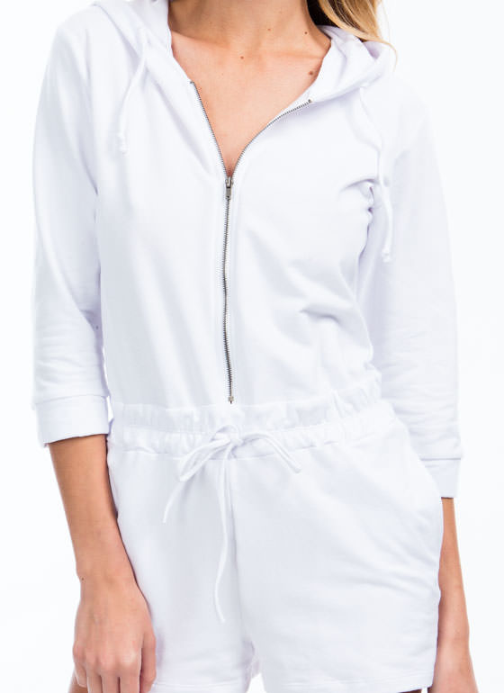 MVP Hooded French Terry Romper WHITE