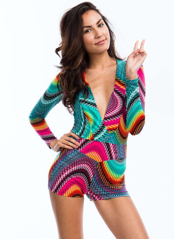 Psychedelic Zigzag Romper GREENPINK