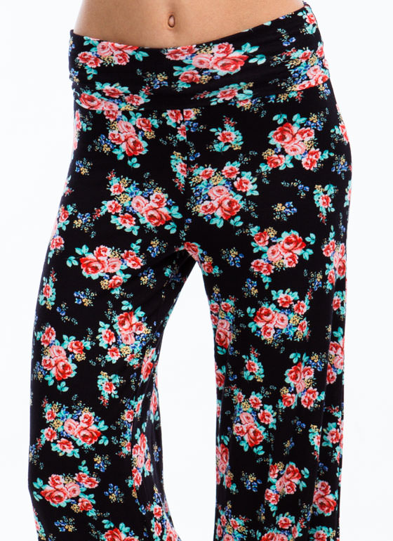 What The Floral Wide Leg Pants BLACK (Final Sale)