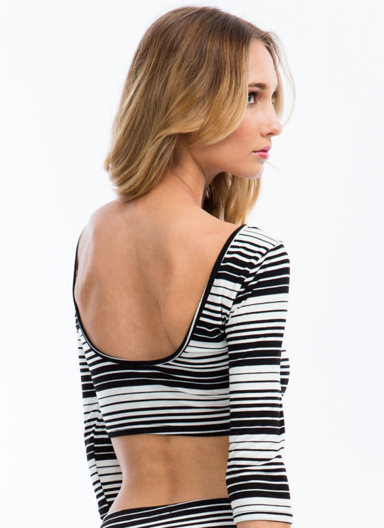 Show Your Stripes Cropped Top BLACKWHITE