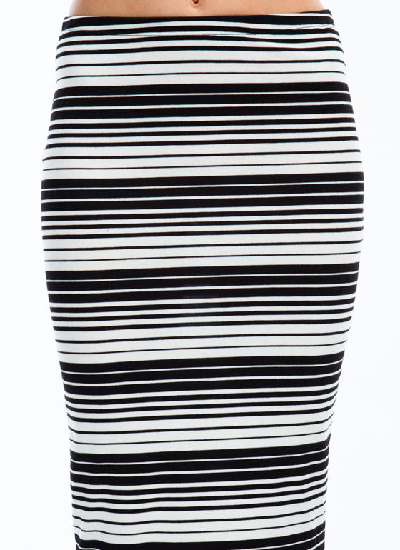 Show Your Stripes Pencil Skirt BLACKWHITE
