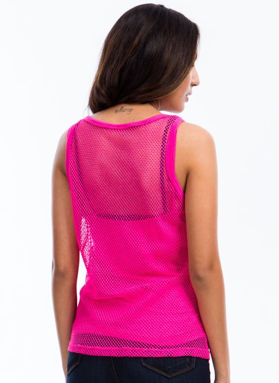 2-In-1 Sports Mesh Tank PINK