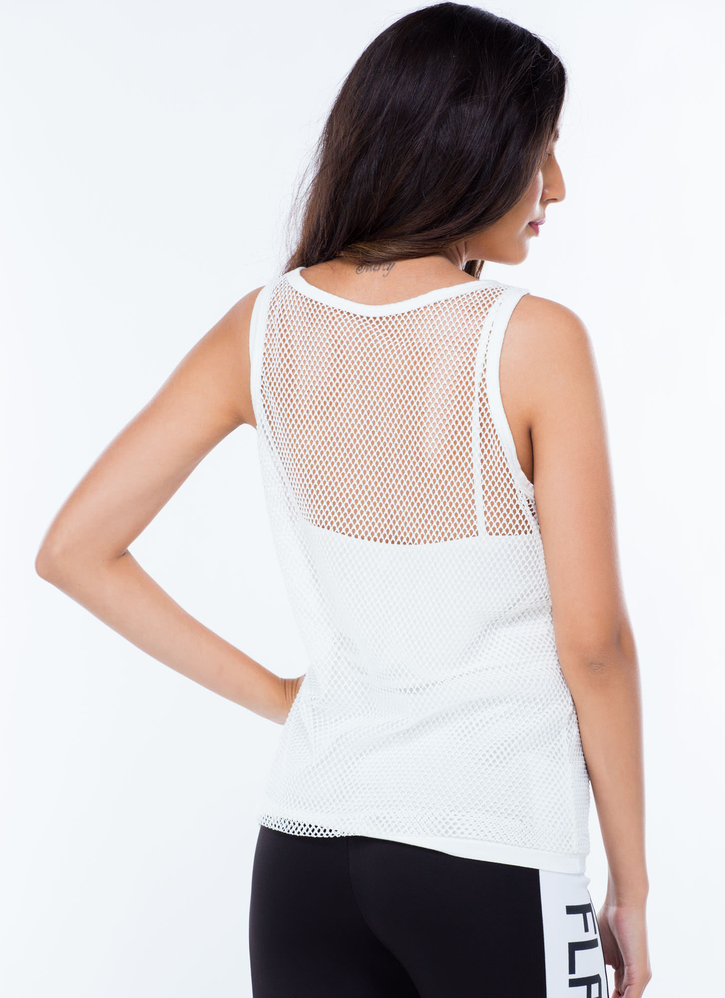 2-In-1 Sports Mesh Tank WHITE