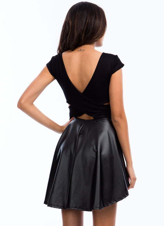 Up High Down Low Skater Dress BLACK