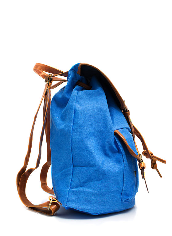 Canvas Drawstring Backpack BLUE