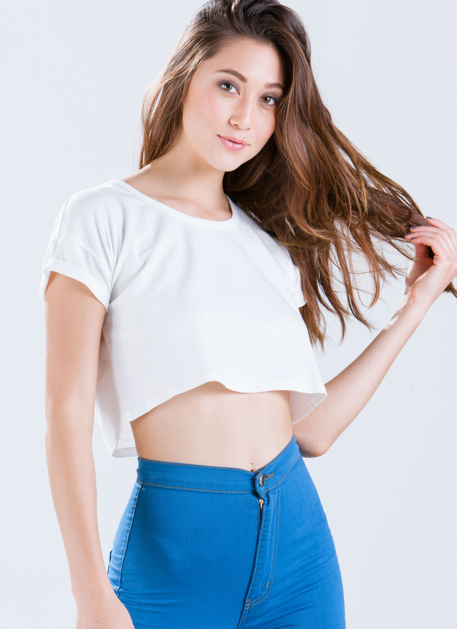 Basic Boxy Cropped Tee WHITE