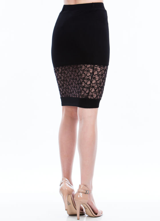 Floral Blossom Lace Inset Skirt BLACK
