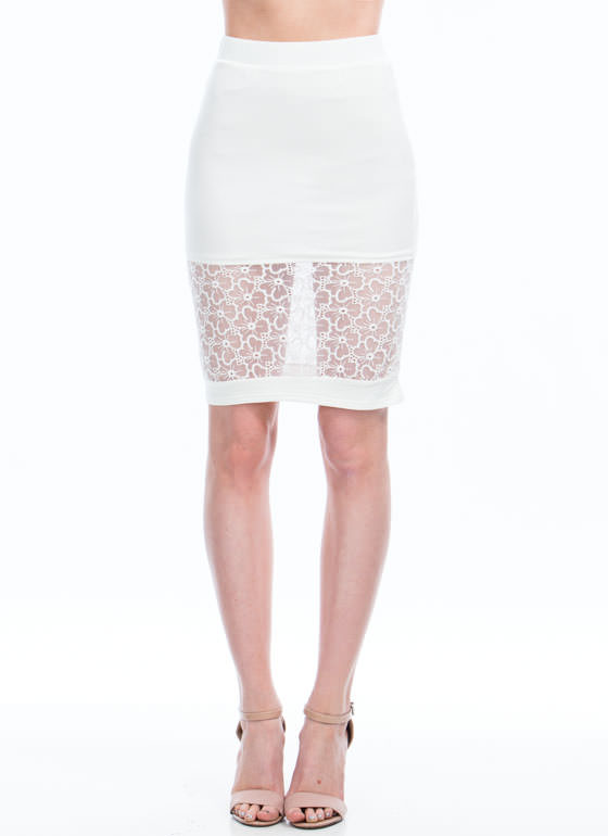 Floral Blossom Lace Inset Skirt WHITE (Final Sale)