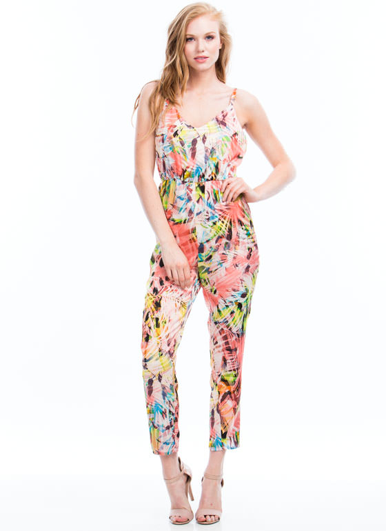 Palm Reading Tropical Jumpsuit CORAL