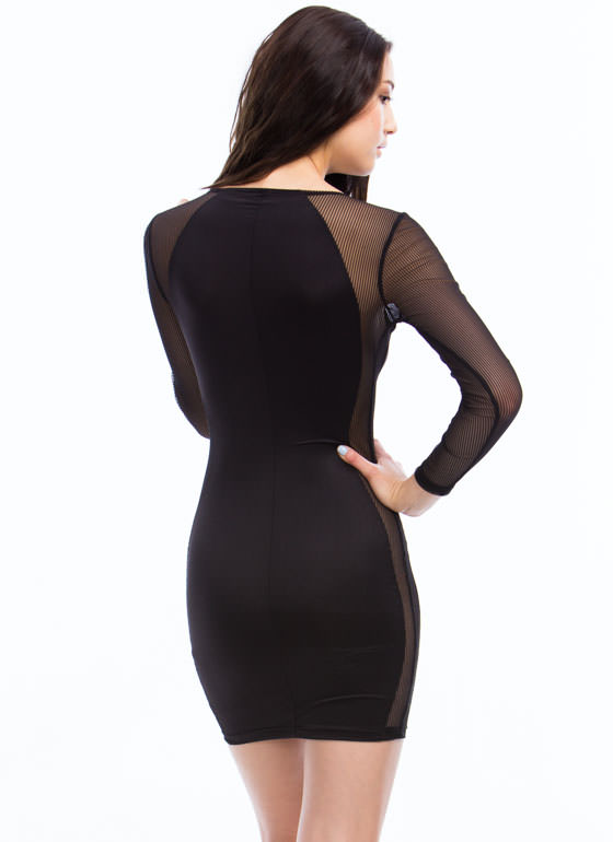 Heart Act To Follow Striped Mesh Dress BLACK