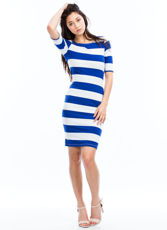Nautical Striped Midi Dress ROYALWHITE