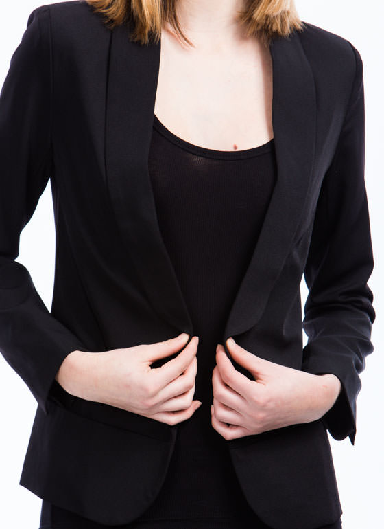 Open Shawl Lapel Blazer BLACK