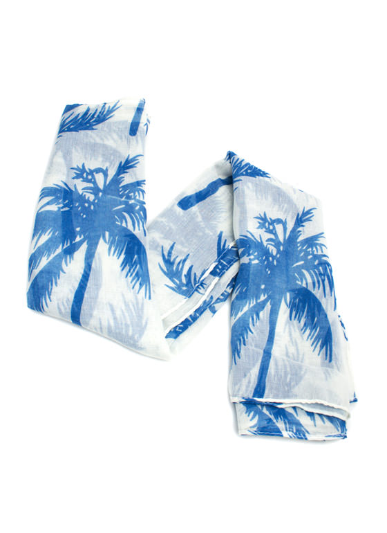 Tropical Palm Tree Scarf BLUE