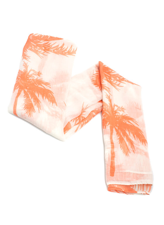 Tropical Palm Tree Scarf CORAL