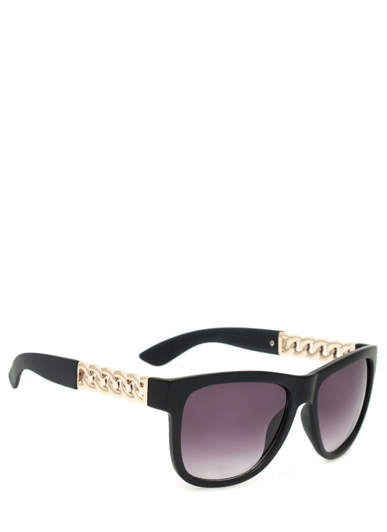 Metallic Chain Sunglasses MBLACKGOLD