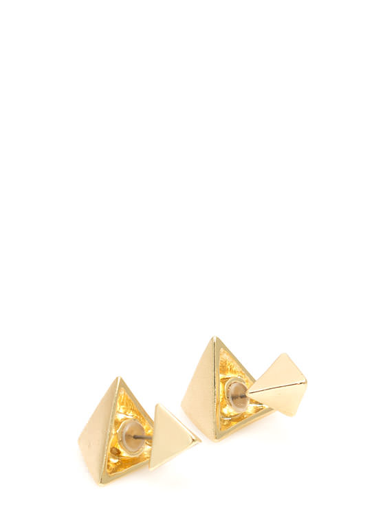 Double Pyramid Faux Plug Earrings GOLD