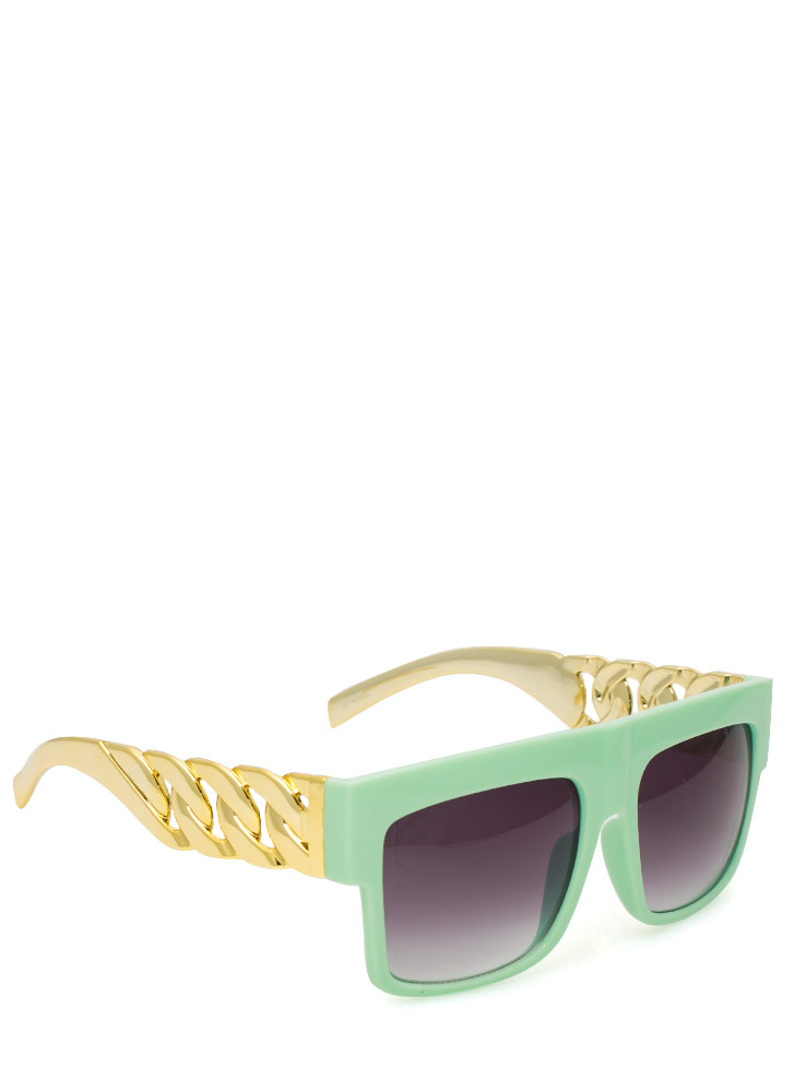 Chain Accent Sunglasses MINTGOLD