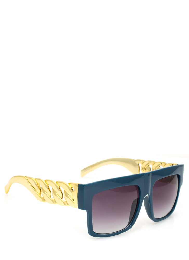 Chain Accent Sunglasses NAVYGOLD