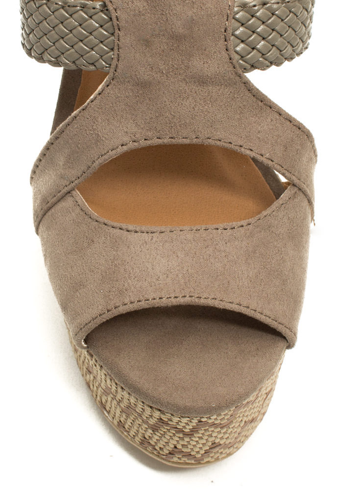 Zigzag Woven Platform Wedges TAUPE
