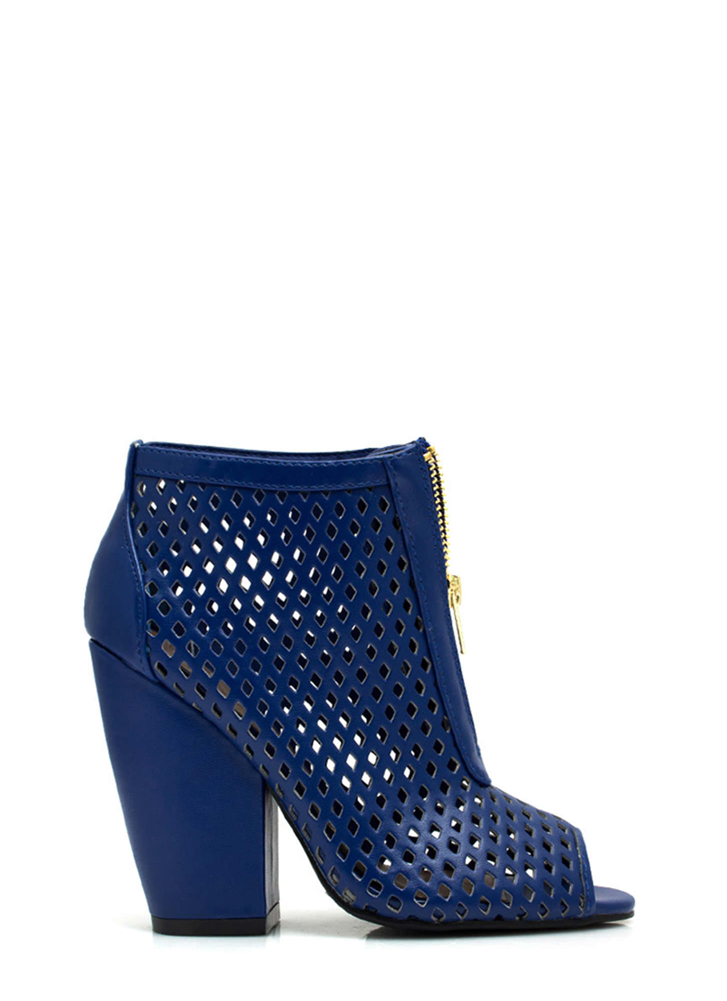 Diamond Lane Laser Cut-Out Booties ROYAL