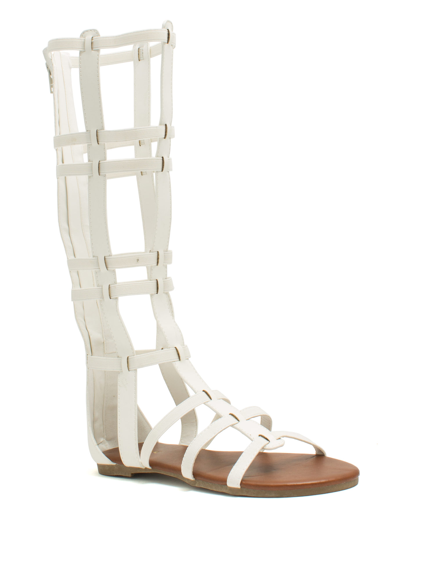Windowpane Gladiator Sandals WHITE