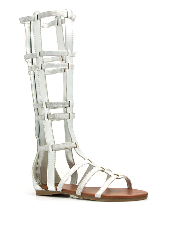 Metallic Windowpane Gladiator Sandals SILVER