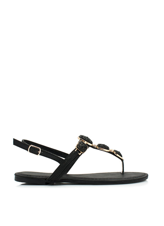 Floral Cut-Out Ornamented Sandals BLACK