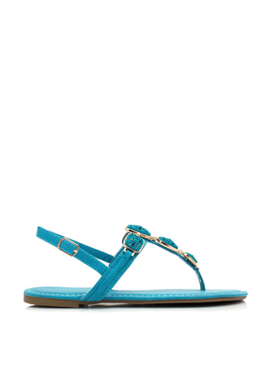 Floral Cut-Out Ornamented Sandals BLUE