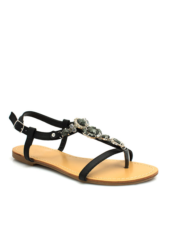 Bejeweled Strappy Sandals BLACK