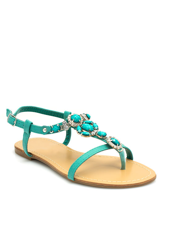 Bejeweled Strappy Sandals SEAFOAM